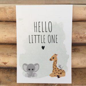 Geboorte felicitatie kaart baby dieren