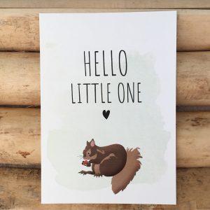 Geboorte wenskaart Hello little one Eekhoorn
