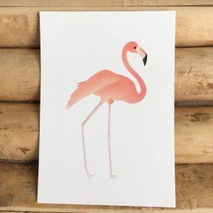 Decoratie kaart flamingo voor op de babykamer of kinderkamer