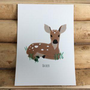 Decoratief kaartje hertje met tekst Oh deer