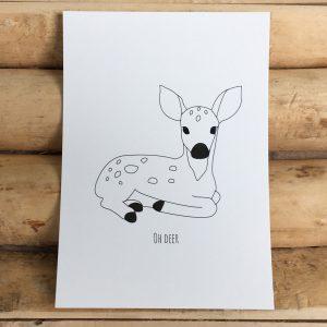 Decoratief kaartje zwart wit met tekst Oh deer en hertje