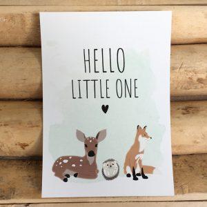 Geboorte wenskaart, baby bos dieren, baby hert, baby egel en baby vosje