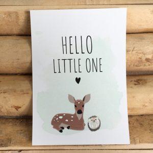 Geboorte wenskaart, baby bosdieren, baby hert en baby egel