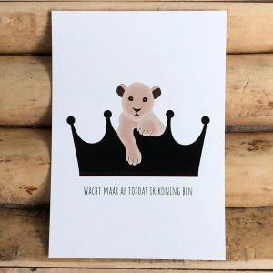 Wacht maar af totdat ik koning ben decoratie kaart met tekst leeuw