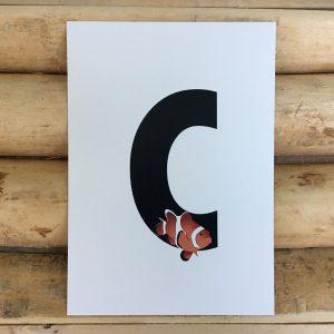 letter kaartje voor naamslinger C van Clownvis