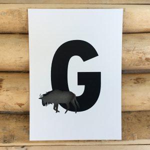 letter kaartje voor naamslinger G van Gnoe