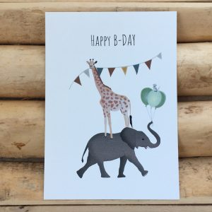 Felicitatie wenskaart Happy b day safarie dieren slingers en ballonnen