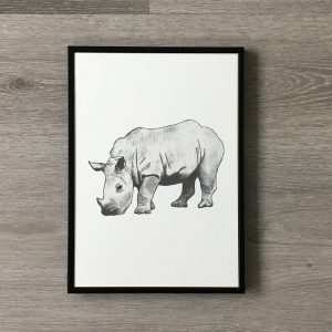 Poster neushoorn in lijst