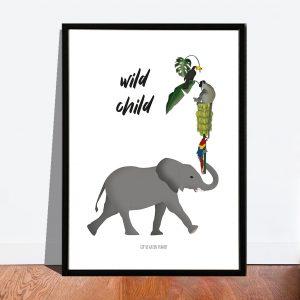 Poster Wild child met jungle dieren