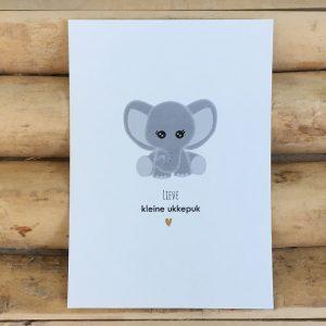 Geboorte felicitatie kaart, Olifantje, Lieve kleine ukkepuk. Gedrukt op milieuvriendelijk, chloorvrij gebleekt papier.