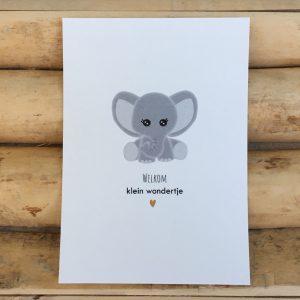 Geboorte felicitatie kaart, Olifantje, Welkom klein wondertje. Gedrukt op milieuvriendelijk, chloorvrij gebleekt papier.