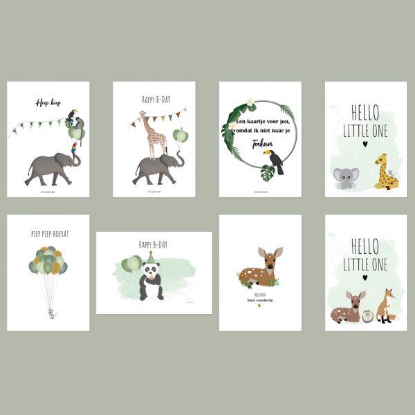 Mix van 8 wenskaarten. Duurzame kaarten set van 8 verschillende wenskaarten voor verjaardagen, geboortes en gewoon zomaar. Incl. enveloppen.