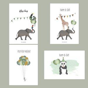 Verjaardagskaarten set gedrukt op milieuvriendelijk papier