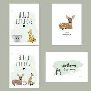 Wenskaarten set geboorte. Set van 4 geboorte felicitatiekaarten. Milieuvriendelijk, chloorvrij gebleekt papier. Incl. enveloppen.