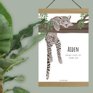 Gepersonaliseerde geboorteposter jungle luipaard. Babykamer thema jungle. Babykamer decoratie jungle. Kraamcadeau met naam.