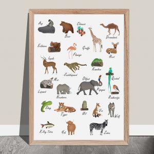 Dieren alfabet poster Nederlands. ABC poster dieren. Alfabet poster dieren - A4 formaat. Alfabet poster kinderkamer.