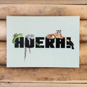 Felicitatiekaart jungle dieren. Stoere verjaardagskaart met jungle dieren. Gedrukt op milieuvriendelijk papier.